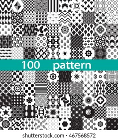 100 geometric vector pattern. Black and white seamless.