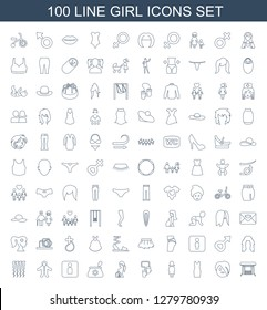 100 girl icons. Trendy girl icons white background. Included line icons such as swing, emo emot, dress, woman, baby mitten, pregnant woman, make up bag. girl icon for web and mobile.