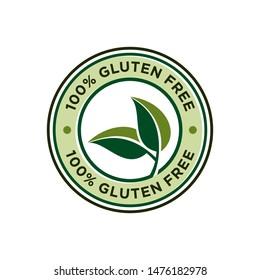100% gluten free stamp icon banner