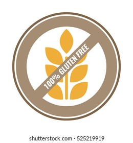 100% Gluten Free sticker for food. Brown and yellow vector label