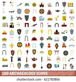 100 greek shield icons set. Flat illustration of 100 greek shield icons vector set for any design