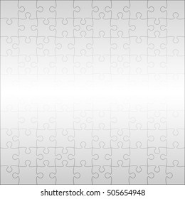 100 Grey Puzzles Pieces Arranged in a Square - JigSaw - Vector Illustration.  Jigsaw Puzzle Blank Template or Cutting Guidelines 10:10 Ratio. Vector Background.