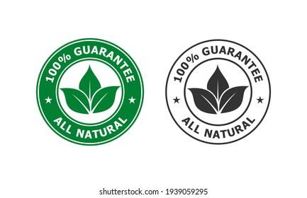 100% guarantee - all natural logo template illustration