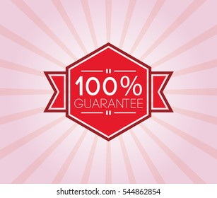 100% guarantee poster. promotion banner, badge, label, ribbon. vector illustration