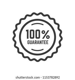 100% guaranteed label icon vector template