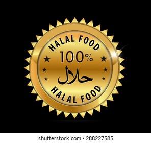 100 % halal food Product Label  purity badge fresh- vector eps10
