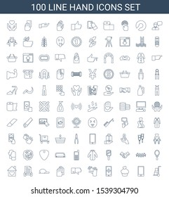 100 hand icons. Trendy hand icons white background. Included line icons such as cart cargo, phone, muffin, hand on smartphone, gloves, dislike, baseball cap. icon for web and mobile.