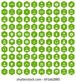 100 headhunter icons set in green hexagon isolated vector illustration