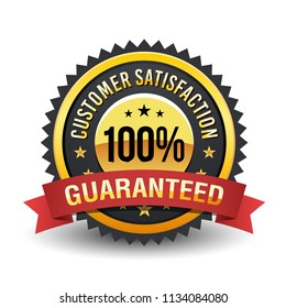 100% High quality customer satisfaction guaranteed with red ribbon on golden badge.