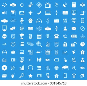 100 Hi-Tech icon set, simple white images on blue background