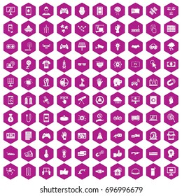 100 hi-tech icons set in violet hexagon isolated vector illustration
