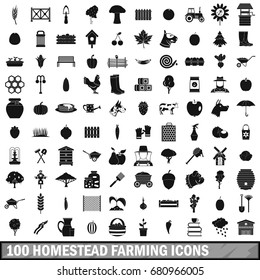 100 homestead farming icons set in simple style for any design vector illustration