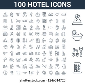 100 Hotel universal linear icons set with Building, Parking, Bathtub, Meal, Air conditioner, Television, Reception, Room key, Restaurant