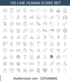 100 human icons. Trendy human icons white background. Included line icons such as nose, foot print, user, group, resume, hair, no bleaching, heartbeat search. human icon for web and mobile.