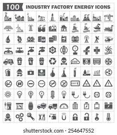 100 icon vector, industry factory energy.