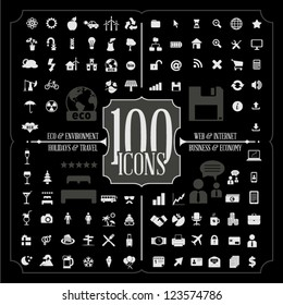 100 Icons of Holidays and Traveling, Business and Economy, Web and Internet, Ecology and Environment