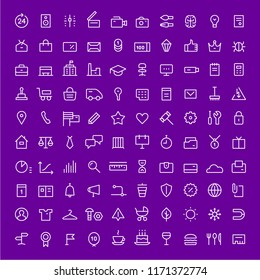 100 icons for web services. Linear. White on purple.