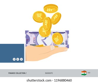 100 Indian Rupee Banknote and coins in the palm of hands. Flat style vector illustration. Finance concept.