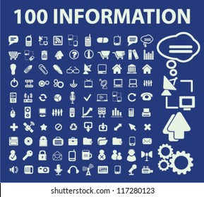100 information & infographics icons set, vector