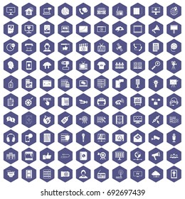 100 information technology icons set in purple hexagon isolated vector illustration