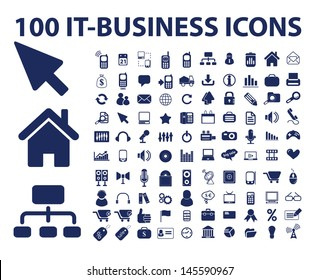 100 information technology icons, signs set, vector