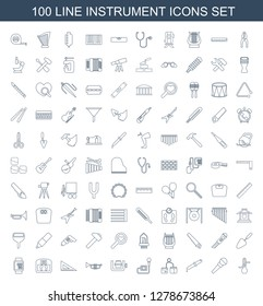 100 instrument icons. Trendy instrument icons white background. Included line icons such as thermometer, microphone, pipette, blod pressure tool. instrument icon for web and mobile.