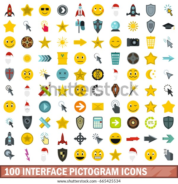 100 interface pictogram icons set in flat style for any design vector illustration