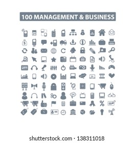 100 internet management, business, marketing, finance, human resources isolated icons, signs set, vector
