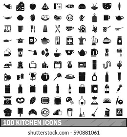 100 kitchen icons set in simple style for any design vector illustration
