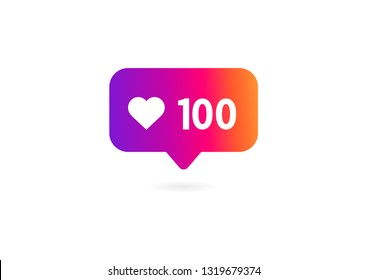 100 likes icon on white background. Vector illustration