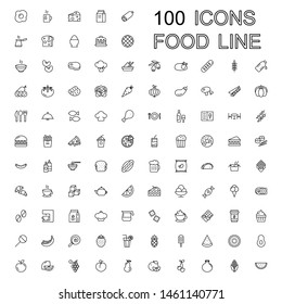100 Line Food Icons Set Collection. Bakery, Seafood, Vegetables, Fruit, Coffee, Meat, Fastfood. Vector illustration eps10.