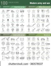 100 lineare Icons für militärische, kriegerische und bewaffnete Konflikte Infografiken auch gut für Handyspiel UX/UI