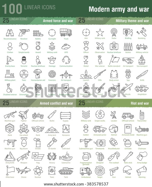 100 linear icons for military, war, and armed conflicts infographics also good for mobile game UX/UI