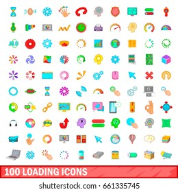 100 loading icons set in cartoon style for any design vector illustration