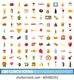 100 lunch icons set in cartoon style for any design vector illustration