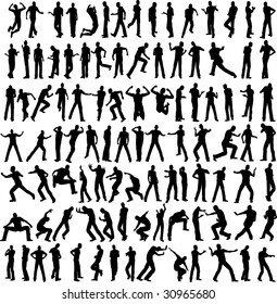 100 man vector different pose isolated on white