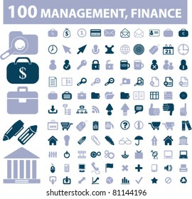 100 management & finance icons, signs, vector illustrations