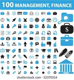 100 management, finance, sales, marketing signs. vector