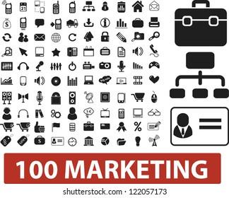 100 marketing icons set, vector