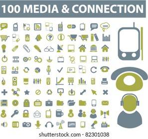 100 media & connection icons, signs, vector illustrations