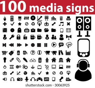 100 media signs.vector