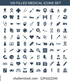 100 medical icons. Trendy medical icons white background. Included filled icons such as siren, dna, thermometer, cream, MRI, x ray, hair removal. medical icon for web and mobile.