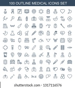 100 medical icons. Trendy medical icons white background. Included outline icons such as heart, pill, doctor, liver, microorganism, bed, wheel chair. medical icon for web and mobile.