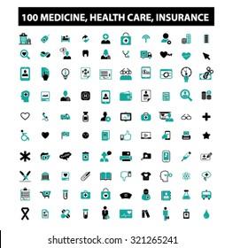 100 medicine, health care, insurance icons
