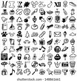 100 mix hand drawn icons