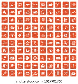 100 mobile icons set in grunge style orange color isolated on white background vector illustration