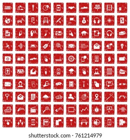 100 mobile icons set in grunge style red color isolated on white background vector illustration