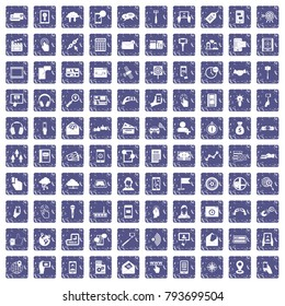 100 mobile icons set in grunge style sapphire color isolated on white background vector illustration