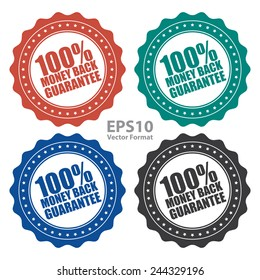 100% money back guarantee icon, tag, label, badge, sign, sticker isolated on white, vector format