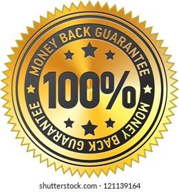 100% money back guarantee label